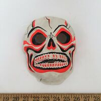 Vintage Neon Skull Halloween Mask 1960s 1970s USA - Ships Fast