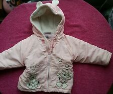 girl winter pink jacket coat rabbit  bunny ears hoodie 0-6 months 0-3 3-6 months