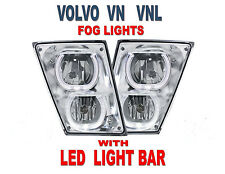 VOLVO VN/VNL (CHROME) FOG LIGHTS w/ White LED Light Bars (PAIR) 2003+