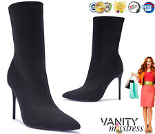 Womens Pointed Stretch Ankle Boots Ladies Slim Stiletto Heel Sock Boot UK Size