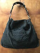 Prada Black Denim Embroidered Handbag