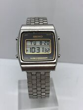 Vintage Seiko A904-5100 LCD Digital Stainless Alarm Chronograph Men's Watch