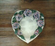Valentines Day Gift Signed Vintage Hand Pottery Raised Roses Heart Bowl, Dish
