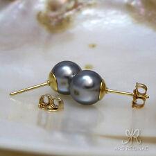 """EINFACH SCHÖN ● 8mm ● SC Perlen """"Tahiti"""" grau Ohrstecker rund ygf 14k Gold 585"""