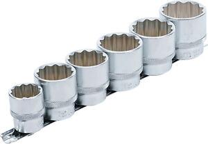 """Bgs 70102 Juego de llaves de vaso 24 30 32 35 36 38 mm 1/2"""" con 12 caras"""