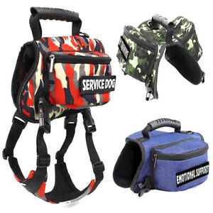 Dog Service Saddle Bag Harness Hound Hiking Camping & 2 Patches Packs Backpack
