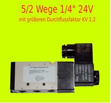 "Pneumatik Ventil 5/2 Wege 24 Volt 1/4"" 1,5-8 bar 5/2 Wegeventil mit KV 1.2"