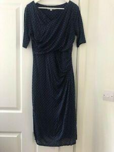 Boden Size 14L Blue/Black Print Midi Dress