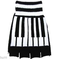 New Fingerless Black Piano Keyboard Design Kitted Fingerless Gloves GOTH WARMER