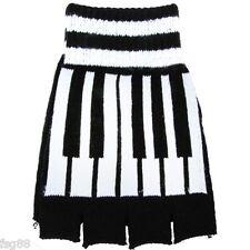 New Fingerless Black Piano Keyboard Design Kitted Fingerless Gloves GOTH WARMER