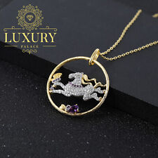 Natural Amethyst Real 925 Sterling Silver Handmade Women Horse Necklace Pendants