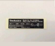 Technics SL 1210 M5G Bottom Base Rear Panel Sticker Name Plate