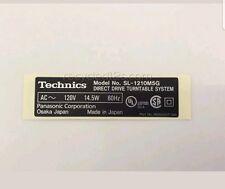 Technics SL 1210 M5G Bottom Base Rear Panel Sticker Name Plate