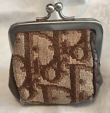 CHRISTIAN DIOR Scarce Vintage Leather & Jacquard Coin Purse Kiss Clasp Ca. 1970s