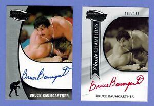 2 2009 BRUCE BAUMGARTNER WRESTLING FUSION CHAMPIONS AUTO RED INK #187/199
