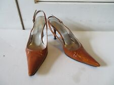 WOMENS DOLCE & GABBANA BROWN LEATHER SLINGBACK PUMPS SIZE 35 1/2