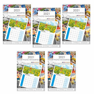 2021 A4 Photo Calendar DIY Personalise with 6'x4' or 7'x5' Photos - 5 Calendars