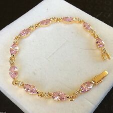 """GB Pink marquise sapphire sim diamond 7.25"""" gold filled bracelet CRUISE BOXED"""