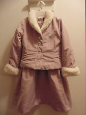 H&M 4-5 year  girls light lavender quilted 2 piece dress with jacket/faux fur