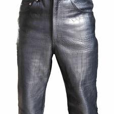 Men Bikers Jeans Black Alligator Crocodile Print Leather 501 Style Pant Trouser