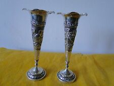 INDIAN VASES STERLING SILVER, C-1860, CHASED ENGRAVED FORMED BEAUTIFULLY
