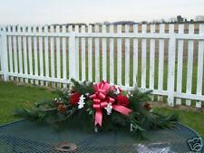 "Wintery Cemetery Pine Grave Blanket Pillow High End Silk Floral 36"" x 24"" Custom"