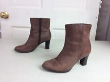 ANA Leather Ankle Boots Chunky Heel Women's 7