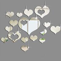 Sticker 15 pcs miroir cœur 3D art mural amovible autocollant muraux salon etc...