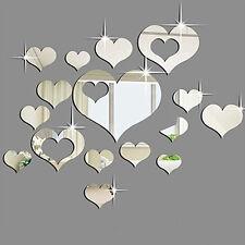 Sticker 16 pcs miroir cœur 3D art mural amovible autocollant muraux salon etc...