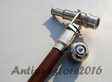Walking Stick Solid Brass Folding Telescope Wooden Cane Stick Nautical Nickel