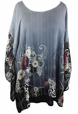 NEW NWT Citron Clothing Plus Size Blossom 100% Silk Double Layer Tunic Blouse 1X