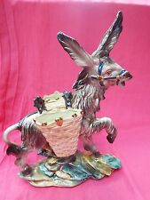 Kitsch Italian Vintage Majolica Very Large DONKEY with Panniers