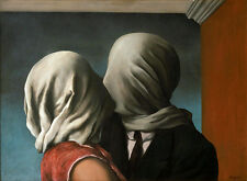 Rene Magritte The lovers giclee 8.3X11.7 canvas print art reproduction poster