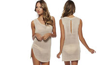 Knit Sleeveless Beach Summer Cover Up Dress Tunic. Beige. Open sides, one size