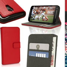 PU Leather Skin Wallet Case for Motorola Moto G 2nd Gen Xt1068 Flip Stand Cover Red