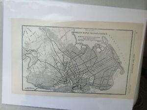 Original Vintage Map of the Brooklyn Rapid Transit System - 1911