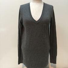 Gap Women Angora Rabbit Hair Blend V-Neck Knit Gray Sweater Size Small New