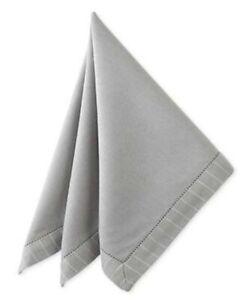 "8 Waterford Linens RIGATO Platinum Gray Pinstripe Napkins 21"" x 21"""