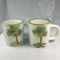 LOT 2 PALM TREE COFFEE TEA MUGS GIBSON ELITE CHINA  FINE EUC FREE SHIPPING RARE