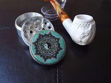 "Standard Turkish Meerschaum Dragon Tobacco Pipe & 2"" Tobacco Grinder Yin Yang"