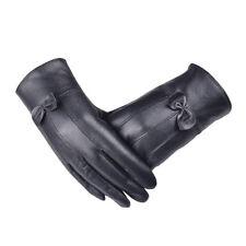 Women Leather Gloves Winter Super Warm Gloves Cashmere Bow Snow Warm Gloves New