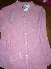 Talbots Kids Girls Pink Striped Ruffled button Down Sz 12 NWT