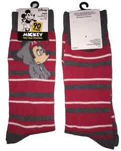 Men's Disney Mickey Mouse Wearing Hoodie Red Novelty Crew Socks Size 10-13
