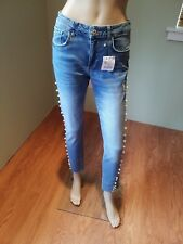 Zara Short Jeans with Pearls on the Side of Legs Size 8 Missing Belt Loop NWD
