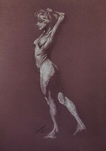 Harry Carmean drawing of standing female model 1989