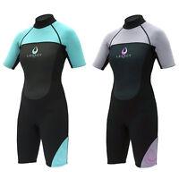 Legacy 3/2mm Womens Short Wetsuit Surf Ladies Shorty Swim Wet Suit S-XXL
