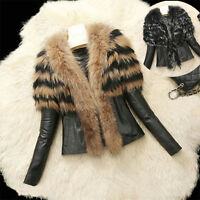 Women Leather Short Jacket Coat With Large Fur Collar Warm Cotton Parka Outwear
