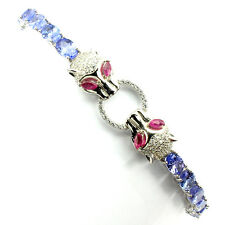 Awesome Natural Blue Violet Tanzanite Red Ruby W Cz 925  Silver Tiger Bracelet