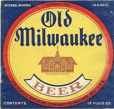 Old Milwaukee Beer bottle label, IRTP, Schlitz, Wisconsin, 1930s, (house center)