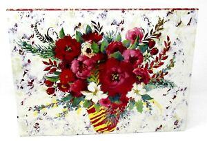 Punch Studio Rectangle Flip Top Nesting Box Christmas Winter Roses 43104 Small